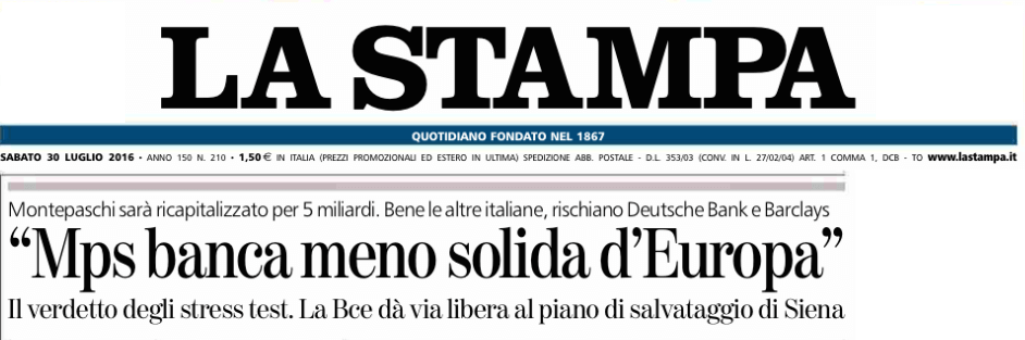 LA STAMPA MPS BANCA MENO SOLIDA